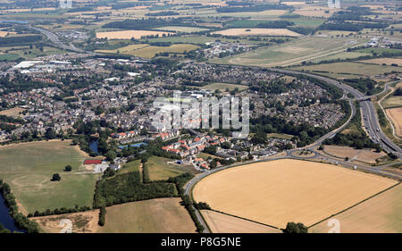 aerial view of Wetherby town centre and the A1(M) - Stock Photo