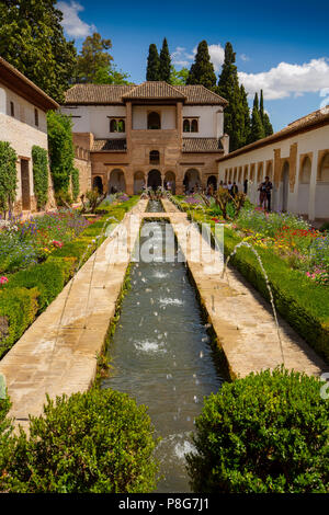 Patio de la Acequia, Generalife Palace gardens. Alhambra, UNESCO World Heritage Site. Granada City. Andalusia, Southern Spain Europe - Stock Photo