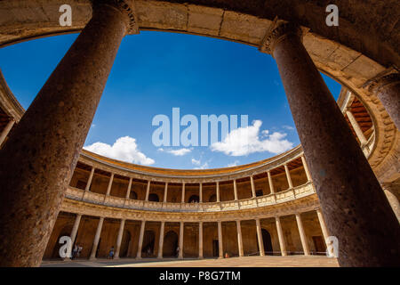 Inner circular courtyard. Palacio de Carlos V. Palace of Charles V. Alhambra, UNESCO World Heritage Site. Granada City. Andalusia, Southern Spain Euro - Stock Photo