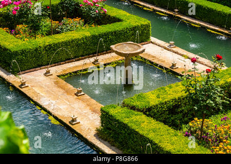 Generalife Palace gardens. Alhambra, UNESCO World Heritage Site. Granada City. Andalusia, Southern Spain Europe - Stock Photo