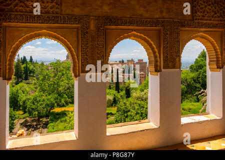 Gardens and panoramic view from Generalife Palace. Alhambra, UNESCO World Heritage Site. Granada City. Andalusia, Southern Spain Europe - Stock Photo