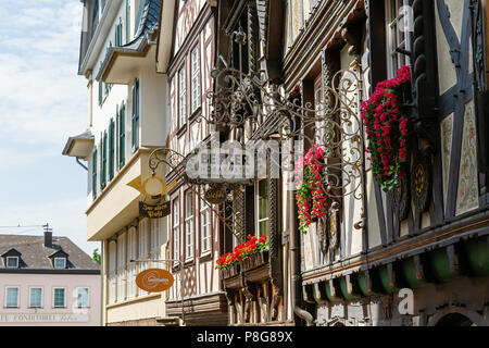 Linz am Rhein, Germany May 31, 2018: half-timbered houses in the old town of Linz am Rhein with antique signs. The town is a popular tourist destinati - Stock Photo