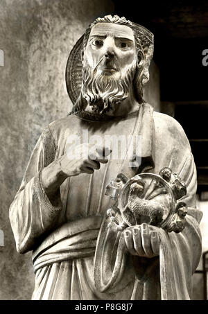 San Giovanni Battista -  St. John Baptist by Maestro Di Sant Anastasia - Master of Sant'anastasia 14th Century  Italy Italian - Stock Photo
