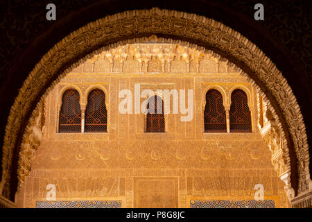 Palacios Nazaries. Nasrid Palace. Alhambra, UNESCO World Heritage Site. Granada City. Andalusia, Southern Spain Europe - Stock Photo