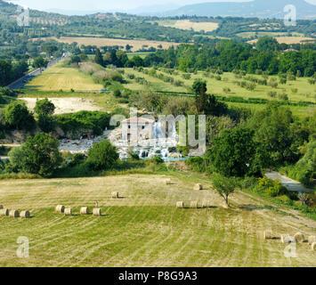 Mill waterfall of Terme di Saturnia in Italy - Stock Photo
