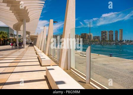 Muelle Uno. Dock One. Seaside promenade at port, Malaga city. Costa del Sol, Andalusia. Southern Spain Europe - Stock Photo
