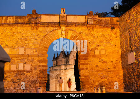 Arco de los gigantes at dusk, monumental city Antequera. Malaga province Andalusia. Southern Spain Europe - Stock Photo