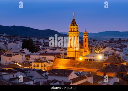 San Sebastian church at dusk, monumental city Antequera. Malaga province Andalusia. Southern Spain Europe - Stock Photo