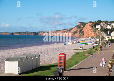 Budleigh Salterton beach and beach huts with red telephone box, Devon, England - Stock Photo