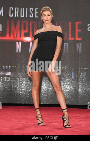 Hailey Baldwin attends the 'Mission Impossible: Rogue Nation' New York premiere in Times Square on July 27, 2015 in New York City. - Stock Photo