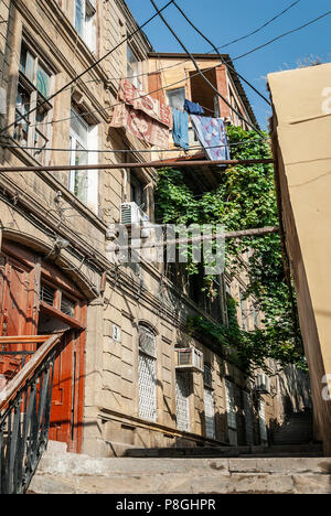 baku city old town street view in azerbaijan with traditional architecture door detail - Stock Photo