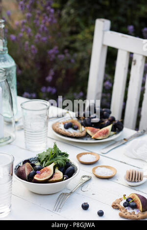 Outdoor summer dinner: fresh salad with figs and red grapes on white rustic table - Stock Photo