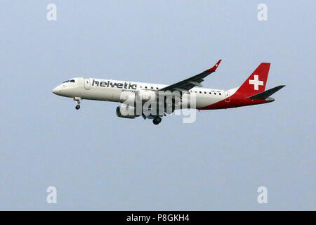 Hanover, Germany, Embraer ERJ-190LR of the airline Helvetic Airways - Stock Photo