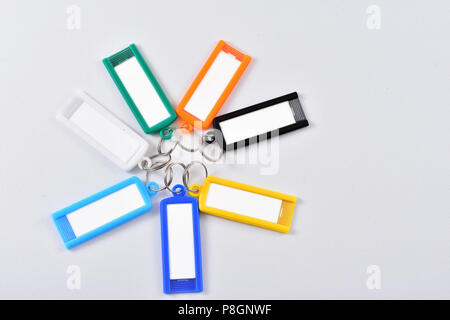 Keychain to write notes and phone number - Stock Photo