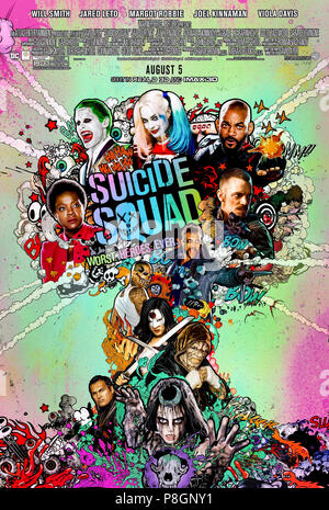 Suicide Squad (2016) directed by David Ayer and starring Will Smith, Jared Leto, Margot Robbie and Joel Kinnaman. A group of super villains is released from prison to battle the Enchantress. - Stock Photo