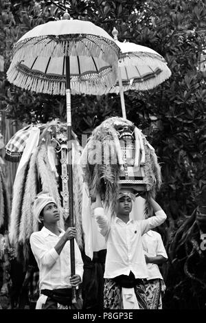 LION MASKS used in traditional LEGONG dancing are carried during a HINDU PROCESSION for a temple anniversary - UBUD, BALI - Stock Photo