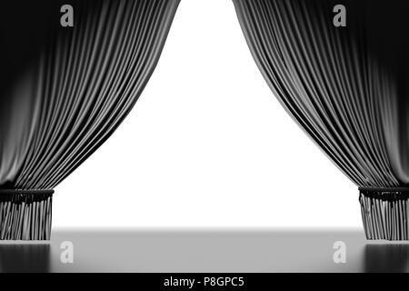 Opened black curtains. Include clipping path. 3d render - Stock Photo