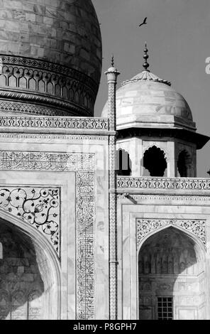 Detail of smaller domes of the TAJ MAHAL, built by emperor Shahjahan for his wife in 1653 - AGRA, INDIA  - Stock Photo