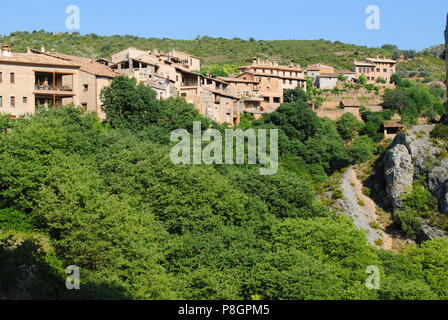 The view of Alquézar, a medieval village in Aragon, Spain. - Stock Photo