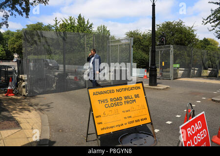 London UK. 11th July 2018. Security metal barriers and fences are installed around the US Ambassador's residence at  Winfield House in Regents Park to create a ring of steel where President Donald Trump will be guest during his visit to the United Kingdom on 13 July Credit: amer ghazzal/Alamy Live News - Stock Photo