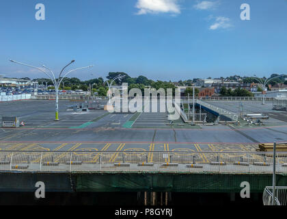 Bournemouth, UK. 11th July 2018. Work starts on the repairs to the crumbling multistory car park at Castlepoint in Bournemouth. The much-delayed repairs come after the concrete structure first started falling apart in 2003. The repair work is due to take 5 years and the shops remain open. Credit Thomas Faull / Alamy Live News - Stock Photo
