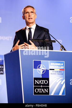 Brussels, Belgium. 11th July, 2018. NATO Secretary General, Jens Stoltenberg gives a press conference during 2018 summit in NATO's headquarters. Credit: Michal Busko/Alamy Live News - Stock Photo