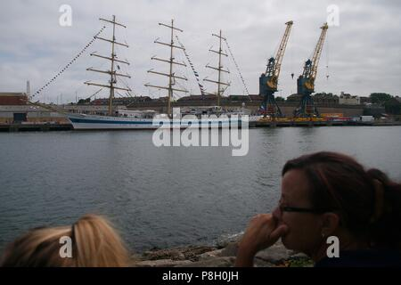 Sunderland, England, 11 July 2018. The tall ship MIR moored at Sunderland during the Tall Ships Races 2018. Credit: Colin Edwards/Alamy Live News. - Stock Photo