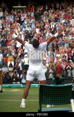 London, UK. 11th July 2018.  Wimbledon Tennis: Spain's Rafael Nadal celebrates his five set victory over Juan Martin del Potro, in the quarterfinals on Center Court at Wimbledon today. Credit: Adam Stoltman/Alamy Live News - Stock Photo