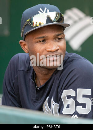Baltimore, United States Of America. 10th July, 2018. New York Yankees relief pitcher Domingo German (65) in the dugout prior to the game against the Baltimore Orioles at Oriole Park at Camden Yards in Baltimore, MD on Tuesday, July 10, 2018. Credit: Ron Sachs/CNP (RESTRICTION: NO New York or New Jersey Newspapers or newspapers within a 75 mile radius of New York City) | usage worldwide Credit: dpa/Alamy Live News - Stock Photo