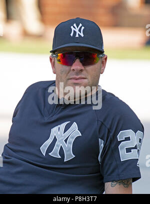 Baltimore, United States Of America. 10th July, 2018. New York Yankees catcher Austin Romine (28) prior to the game against the Baltimore Orioles at Oriole Park at Camden Yards in Baltimore, MD on Tuesday, July 10, 2018. Credit: Ron Sachs/CNP (RESTRICTION: NO New York or New Jersey Newspapers or newspapers within a 75 mile radius of New York City) | usage worldwide Credit: dpa/Alamy Live News - Stock Photo