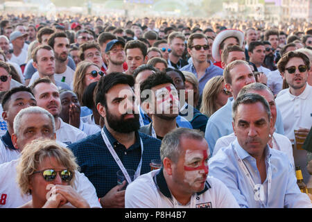 London, UK. 11th July, 2018. 30,000 England fans attend the public screening of the FIFA 2018 World Cup semi-final between England and Croatia in Hyde Park, the largest such screening of a football match since 1996. The event was organised by the Mayor of London and Government in conjunction with the Royal Parks, the Football Association and other agencies. The match provides England with the chance to reach their first World Cup final since 1966. Credit: Mark Kerrison/Alamy Live News