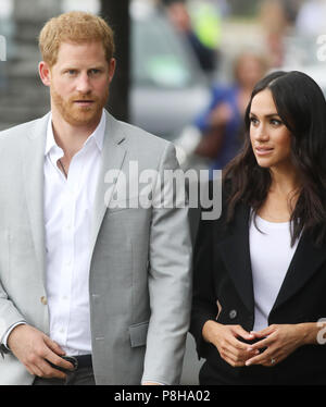 Prince Harry and Meghan Markel visit the Great Famine sculpture, Dublin, Ireland - Stock Photo