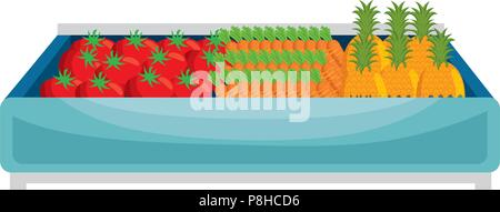 supermarket wooden shelf with vegetables - Stock Photo