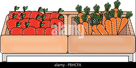 supermarket wooden shelf with carrots and apples - Stock Photo