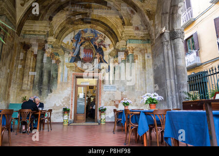 Sedile Dominova, a historic building with an open loggia with original frescos now serving as a working men's club, Sorrento, Italy - Stock Photo