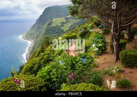 Viewpoint Ponta do Sossego, Sao Miguel Island, Azores, Portugal - Stock Photo