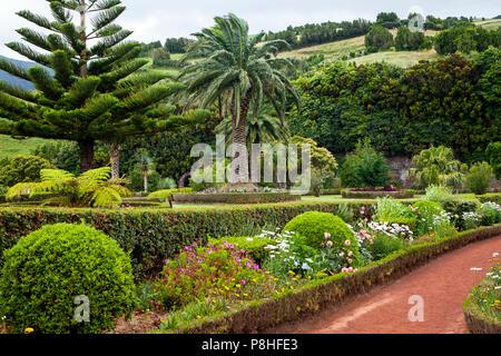 Gardens at viewpoint Ponta do Sossego, Sao Miguel Island, Azores, Portugal - Stock Photo