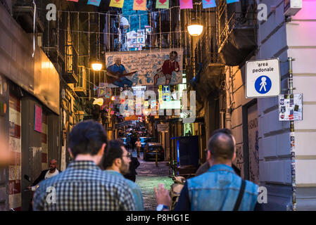 Spanish Quarter, Bustling, colourful, crumbling, energetic, gritty and crowded part of the city, Naples, Italy - Stock Photo