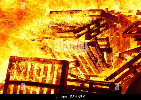 Fire flame o a bonfire. Fireman emergency. Danger combustion, emission - Stock Photo