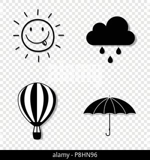 Vector black and white silhouette illustration of seasons weather icon set collection isolated on transparent background. Smiling sun, rainy cloud, um - Stock Photo