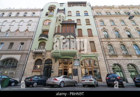View of the facade of House of Hungarian Art Nouveau in Budapest, Hungary - Stock Photo