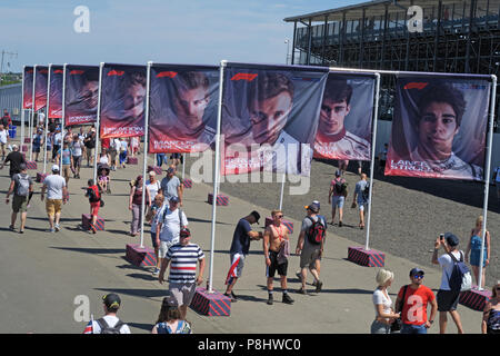 F1 Drivers on flags, Silverstone Formula One Racing Circuit, British Grand Prix 2018, England, UK - Stock Photo