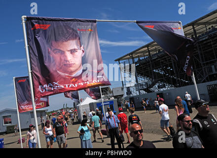 F1 Drivers on flags,Max Verstappen, Silverstone Formula One Racing Circuit, British Grand Prix 2018, England, UK - Stock Photo