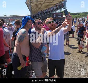 General Admission spectators, at the British Grand Prix, Silverstone Circuit, Towcester, Northamptonshire, England, UK - Stock Photo