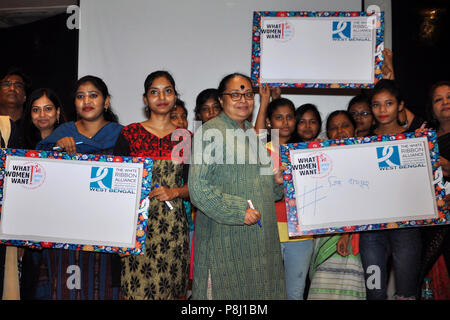 Kolkata, India. 11th July, 2018. West Bengal Commission for Protection of Child Rights Government of West Bengal Chairperson Ananya Chakraborti along with Girls participant during campaign 'What Women Want'. Credit: Saikat Paul/Pacific Press/Alamy Live News