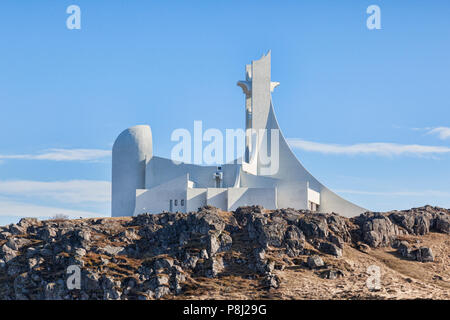16 April 2018: Stykkisholmur Church, Snaefellsness Peninsula, West Iceland - A church which is also used as a concert hall. - Stock Photo