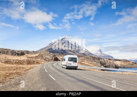 28 April 2018: South Iceland - White van on the Iceland Ring Road. - Stock Photo
