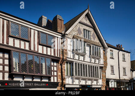 23 May 2018: Dartmouth, Devon, UK - Beautiful 16th century Tudor buildings in Higher Street. Restored after a fire in 2010. - Stock Photo