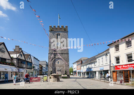 28 May 2018: Newton Abbot, Devon, UK - The Clock Tower and town centre. - Stock Photo