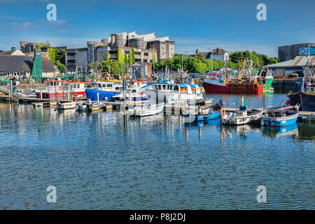 9 June 2018: Plymouth, Devon, UK - The Barbican area, with apartment buildings and the marina. - Stock Photo